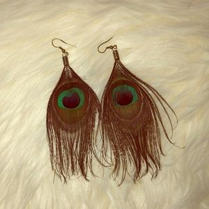 Express peacock feather earrings
